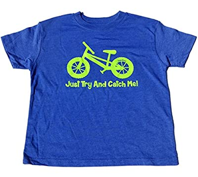 """ZippyRooz Boys Toddler & Little Kids Pedal Bike Tee Shirt """"Just Try and Catch Me!"""""""