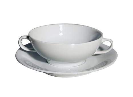 Santa Clara Aloia Blanco - Set 6 Tazas consomé con plato