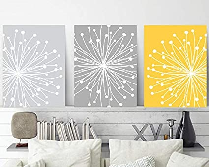 Amazon.com: Blafitance Dandelion Wall Art, Yellow Gray Wall ...