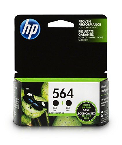 HP 564 Black Original Ink Cartridges, 2 Pack For HP Deskjet 3520, 3521, 3522, 3526 HP Officejet 4610, 4620, 4622, HP Photosmart 5510, 5511, 5512, 5514, 5515, 5520, 5522, 5525, 6510, 6512, 6515, 6520, 6525, 7510, 7515, 7520, 7525, B209, B210, B8550… (Black Ink 564)