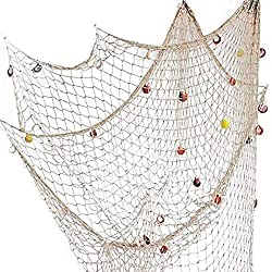 Nature Fish Net Wall Decoration with Shells, Ocean Themed Wall Hangings Fishing Net Party Decor for Pirate Party,Wedding,Photographing Decoration ¡­ (39inch x 79inch- Beige)