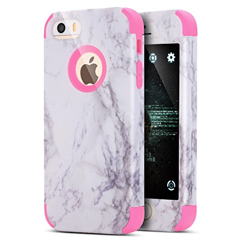 iPhone 8 Case,iPhone 7 Case,ikasus Marble Hybrid Heavy Duty Shockproof Full-body Dirtproof Soft Silicone & Hard PC Dual Layer Non-slip Grip Protection Bumper Case for iPhone 8 / 7 - Hot Pink