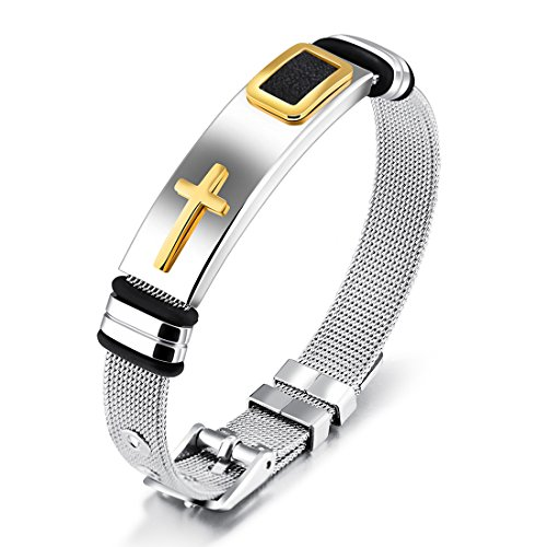 OBSEDE Fashion Solid Stainless Steel Cross Bangle Bracelet Men Jewelry with Golden Cross Adjustable Tricolor Wristband - Cross Wristband