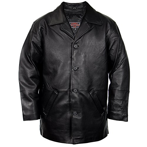 - Lucky Leather 960C Mens Black Cowhide Leather Car Coat - Small