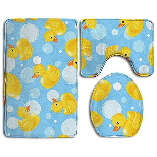 KAHmn Yellow Duck 3-Piece Soft Bath Rug Set Includes Bathroom Mat Contour Rug Lid Toilet Cover Home Decorative Doormat