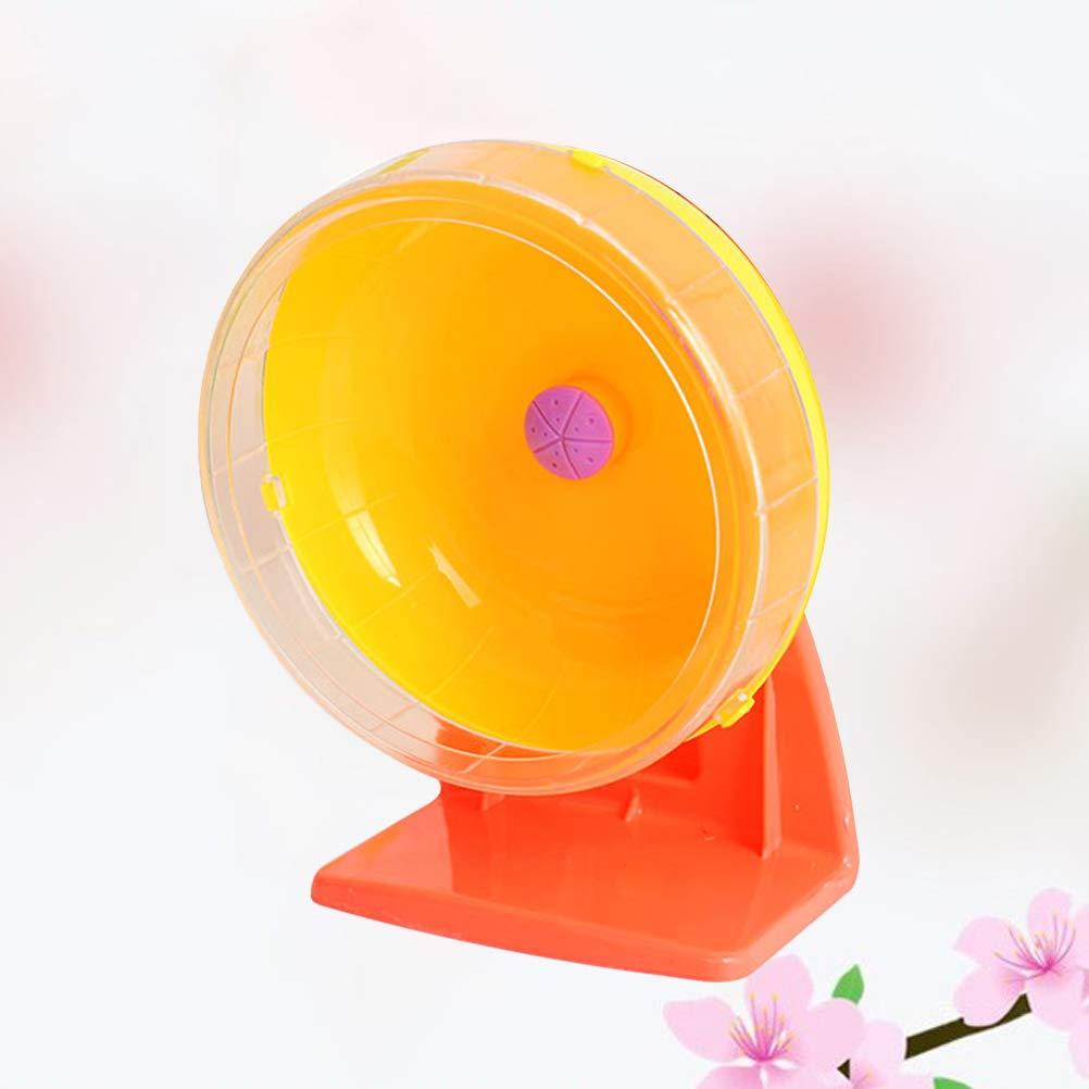 POPETPOP Hamster Exercise Wheels Plastic Silent Spinner Run Disc for Hamsters Hedgehogs Size L Random Color