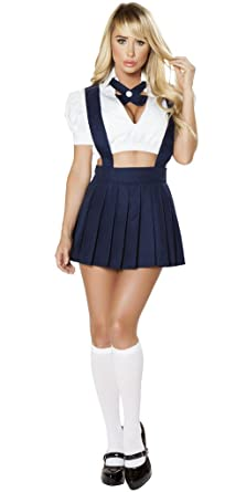2cafe70c2b1 Musotica Sexy Back to School Girl Halloween Costume - White Blue - Small