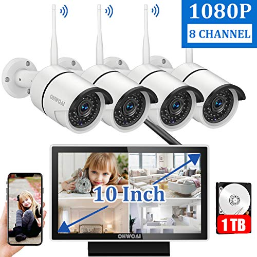 8CH ExpandableWireless Security Camera System with 10 Inch Monitor,OHWOAI 10 Inch Screen Wireless Home Surveillance Camera System 1TB Hard Drive Pre-installed,4pcs 1080P 2.0MP Indoor/Outdoor Wireles