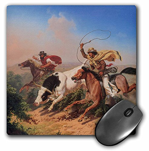 - 3dRose BLN American West Fine Art Collection - Vaqueros Roping a Steer by Charles Christian Nahl American West - MousePad (mp_126719_1)