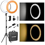 18Dimmable LED Ring Light, ZOMEi 5500k Output SMD LED Youtube Video and Makeup Ring Light with Stand, Plastic Color Filter With Portable Carrying Bag