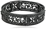 Best 1928 Jewelry Bracelets - 1928 Jewelry Black-Tone Black Diamond Square Filigree Stretch Review