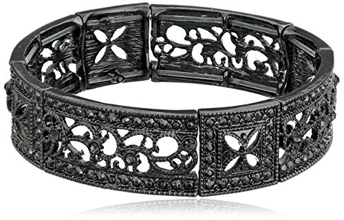 (1928 Jewelry Black-Tone Black Diamond Square Filigree Stretch Bracelet)