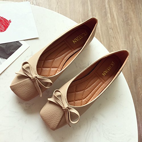 And Spring Women'S Shoes Bottomed Six Red The Shallow And Shoes Autumn Comfortable The Thirty Khaki Shoes Flat In Square Bow Leather Season Is KPHY qdXIFwSxI