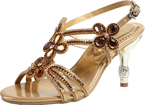 Salabobo Womens Glaring Beautiful Pretty Heels Stilettos Sexy Rhinestone Sandals ZX-L006 Gold UK3.5 DZ1GUE