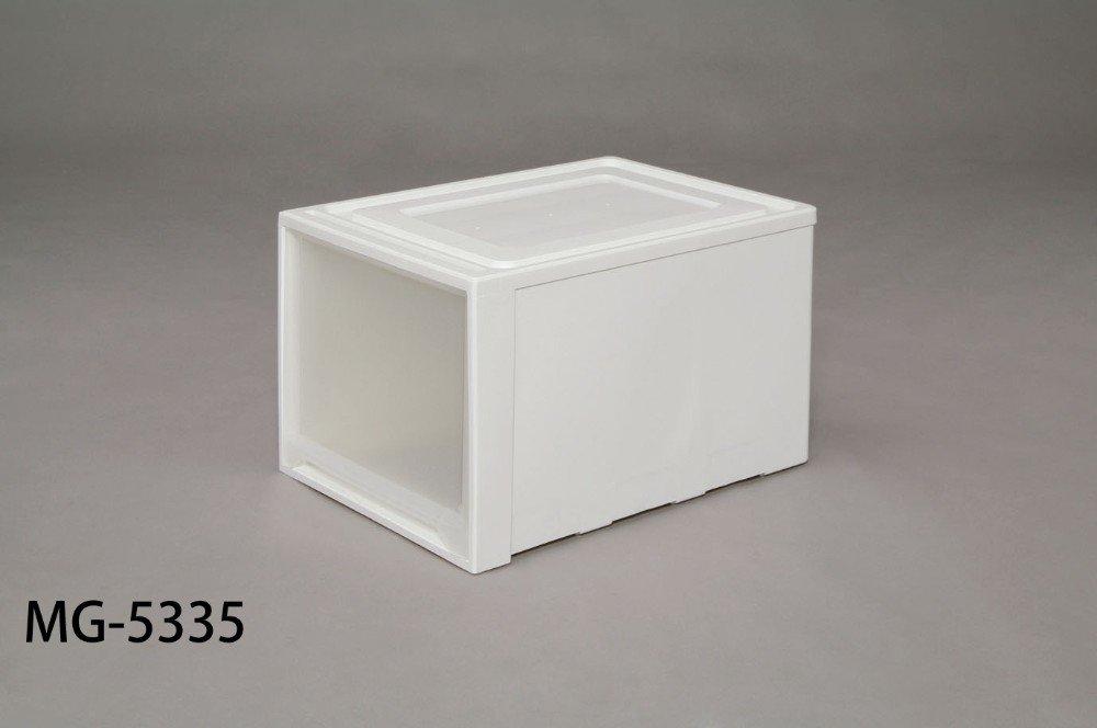 収納チェスト 中身が見える、クリアタイプ 衣類収納 ロングチェスト ホワイト/クリア 3点セット B00YO5JJFE