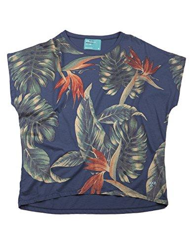 Dear Tee Paradise Flowers, Camiseta para Mujer Blue Marine