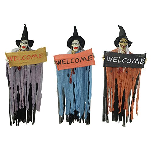 BESTOYARD Halloween Hanging Decorations Scary Skeleton Ghost Witch with Sound and Flashing Eyes for Haunted House Party Horror Theme Bar -