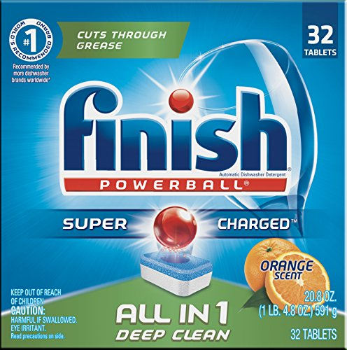 Finish All in 1 Powerball Orange 32 Tabs, Automatic Dishwasher Detergent (Finish Pods)