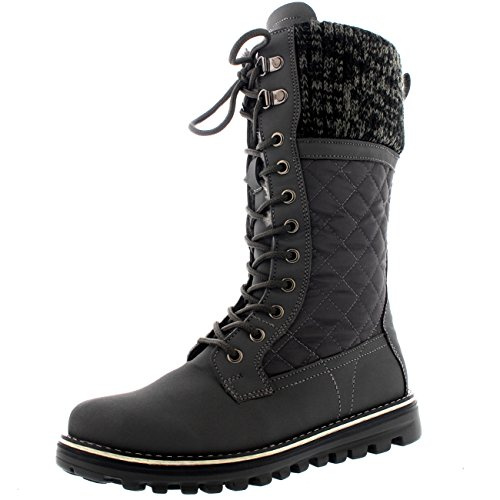 Polar Womens Winter Thermal Snow Outdoor Warm Mid Calf Waterproof Durable Boot - Gray - US9/EU40 - YC0378