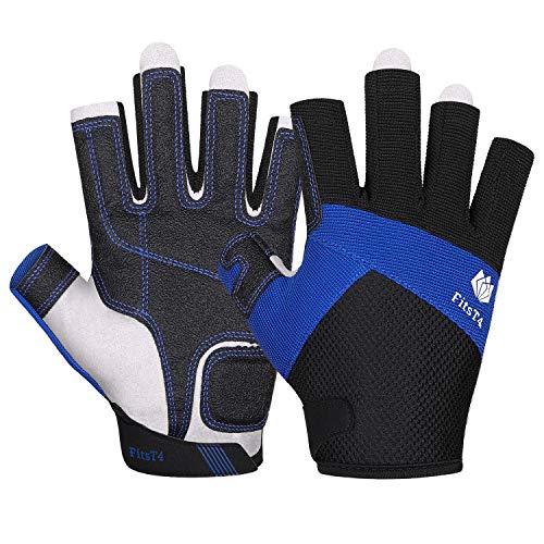 FitsT4 Sailing Gloves 3/4 Finger Padded Palm - Mesh Back for Comfort - Perfect for Sailing, Paddling, Canoeing, Kayaking, SUP for Men Women & Kids Blue M