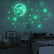 Airsnigi Glowing in The Dark Wall Sticker,1093PCS Adhesive Wall Stickers, Including Glowing Stars and Moon,3D