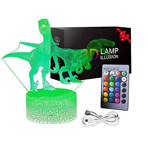 Dinosaur Night Light for Boys, T Rex 3D Decor Lamp with Remote Control and Smart Touch Toys for 3-10 Year Old Boys Girls Gifts Age 3-10 T Rex (D Trex)