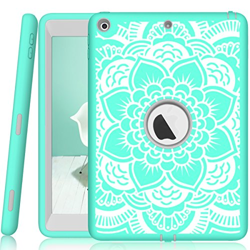 - iPad 5th/6th Generation Case, Hocase Heavy Duty Shock Absorbent Rubber+Hard Plastic Dual Layer Protective Case w/ Mandala Floral Print and Kickstand for iPad 9.7 2018/2017 - Mint Green / Gray