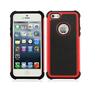 Red Black Soft Gel Outer Hard Inner Core Apple iPhone 5 Cover Case