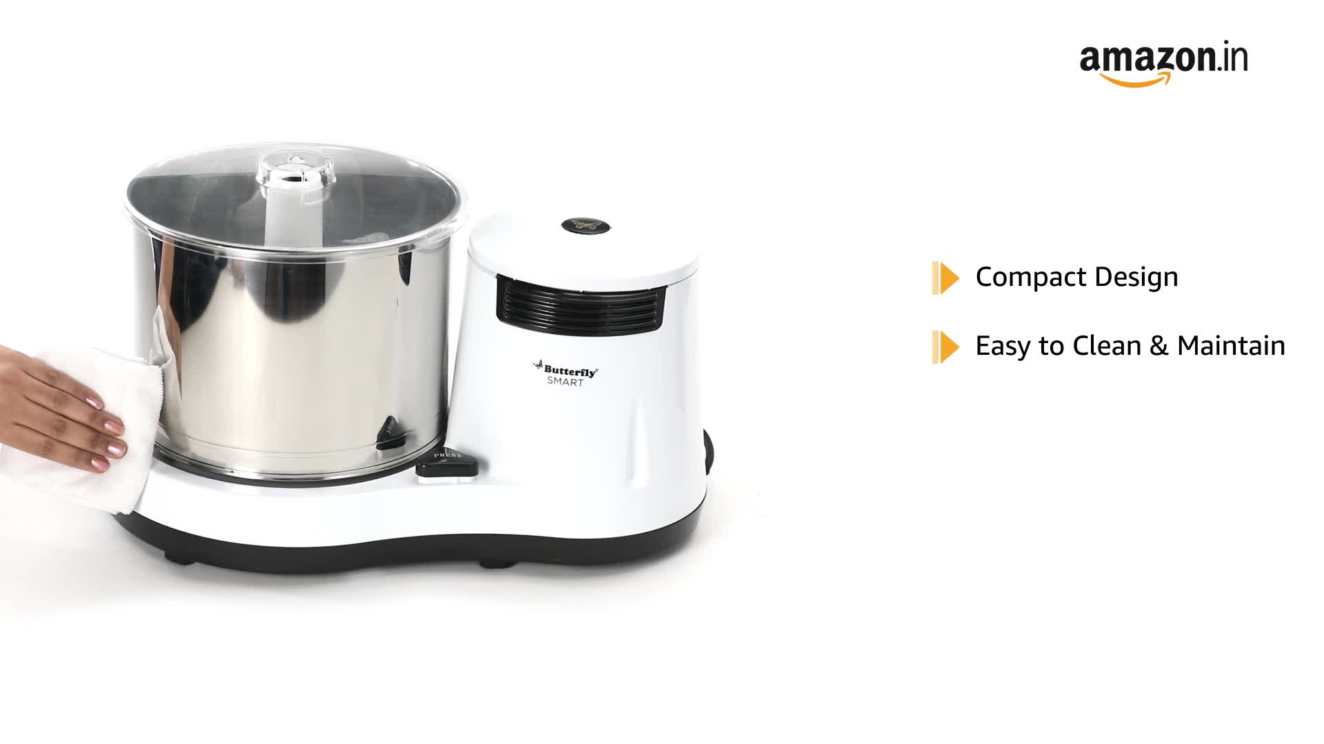 Butterfly Smart Wet Grinder, 2L (White) with Coconut Scrapper Attachment, 150 W 2