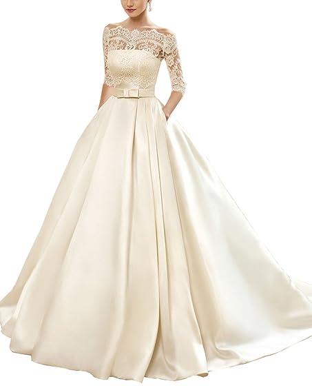 LoveBride Women\'s Half Sleeve Lace Wedding Dresses Long Boat Neck ...