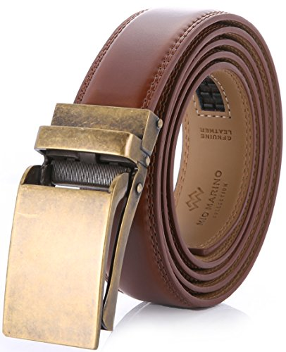 Marino Avenue Men's Genuine Leather Ratchet Dress Belt with Linxx Buckle, Enclosed in an Elegant Gift Box Burnt Umber - Style 77 Adjustable from 28