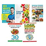 Books : 101 ways to lose weight, alkaline detox reset cleanse, whole food plant based diet, whole food healthier lifestyle diet, diet bible 5 books collection set