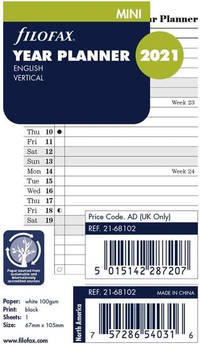 inglese 2021 C68202-21 4,75 x 3,25 pollici Filofax 2021 Ricarica tascabile Planner verticale