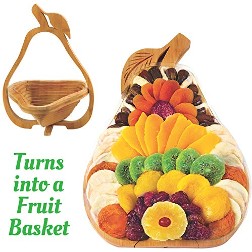 - Dried Fruit Gift Basket - Healthy Gourmet Food - Vegan, Kosher, Gluten-Free Gift Box - Pear Tray, Extra Large Multi-Functional Foldable Tray, Trivet and Fruit Basket - Birthday, Sympathy, Holiday