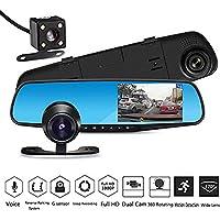 Sedeta Dual Lens Car Camera 1080P Full HD Dash Cam Car Recorder DVR with 4.3 Inch Screen 165 degree Wide Angle Lens Waterproof Rear Camera