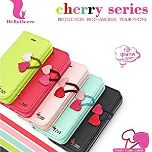 Fashion Cherry Series Wallet Stand Flip Case for iPhone 5 5S / 4 4S PU Leather Black Red Cover for iphone5 100pcs/lot RCD00292 --- Color:Black for 4 4S 4G