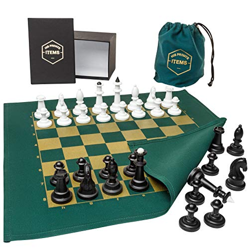 (His Private Items Fabric Board Chess Set - Unique and Engaging Chess Set - Fabric Chess Board with Plastic Game Pieces - Includes Collector's Box and Cloth Travel Bag)