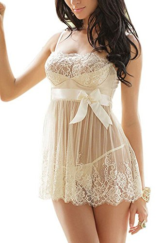 IWISHME Women Sexy Lingerie See-through Lace Babydoll With Satin Bow and G-string Set – XL=US Size L, Ivory