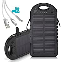 ALYN I Outdoor Solar Power Bank I 5000mAh External Battery Pack with Micro Lighting Cable I Portable Charger for Cell Phones I Waterproof/Shockproof/Dustproof I Compact Design Allows Charging Anytime