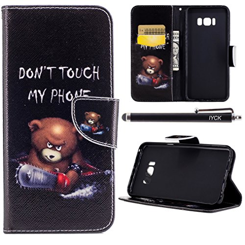 S8 Plus Case, Galaxy S8 Plus Case Wallet, iYCK Premium PU Leather Flip Folio Magnetic Closure Protective Shell Wallet Case Cover for Samsung Galaxy S8 Plus with Kickstand Stand - Electric Saw Bear