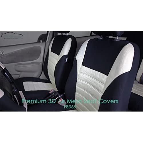 Fit Most Car FH Group FB068013 Premium 3D Air Mesh Split Bench Car Seat Cover w Gift Truck SUV or Van Beige//Black