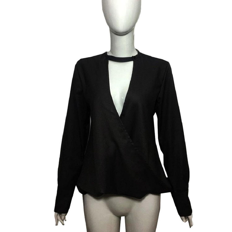Fheaven Women Choker Neck V Neck Loose Casual Long Sleeve Tops Blouse Shirt