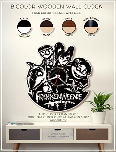 Frankenweenie Wooden Clock. Modern Bicolor Clock. Disney Decor. Handmade Wall Clock. Halloween Gift B184(Black-White)]()