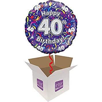 InterBalloon Helium Inflated Happy 40th Birthday Purple Streamers Balloon Delivered In A Box