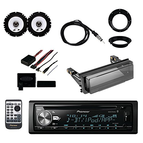 Pioneer Vehicle CD Digital Music Player Receivers with Bluetooth, Metra Steering Wheel Control Interface, Metra Radio Cover Kit, Enrock Marine Antenna Alpine Speakers Pair and Metra Mounting Ring