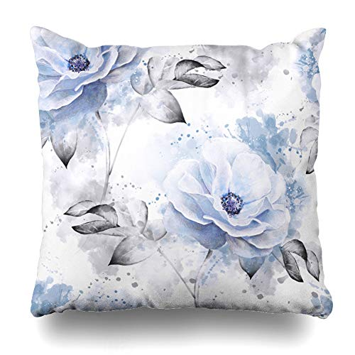 (Ahawoso Throw Pillow Covers Art Watercolor Abstract Blue Flowers Leaves On Vintage Blossom Gray Artistic Bedclothes Bloom Branch Zippered Pillowcase Square Size 16 x 16 Inches Home Decor Cushion Case)
