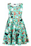 #10: Funnycokid Girls Sleeveless Round Neck Floral Printed Holiday Dress Size 4-13