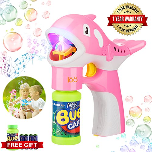 Bubble Machine, Durable Portable Automatic Bubble Blower, Bubble Gun with LED Light Up and Sound Toys Bubble Maker for Kids Boys Girls Birthday Parties Wedding Christmas Pink Dolphin
