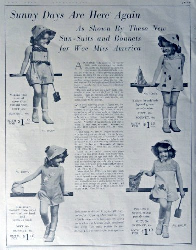 Styles, Sun-Suits and Bonnets July 1938, Print Ad. Full Page B&W Illustration (Wee Miss America) Original Vintage 1938 Home Arts Needlecraft Magazine, Print Art
