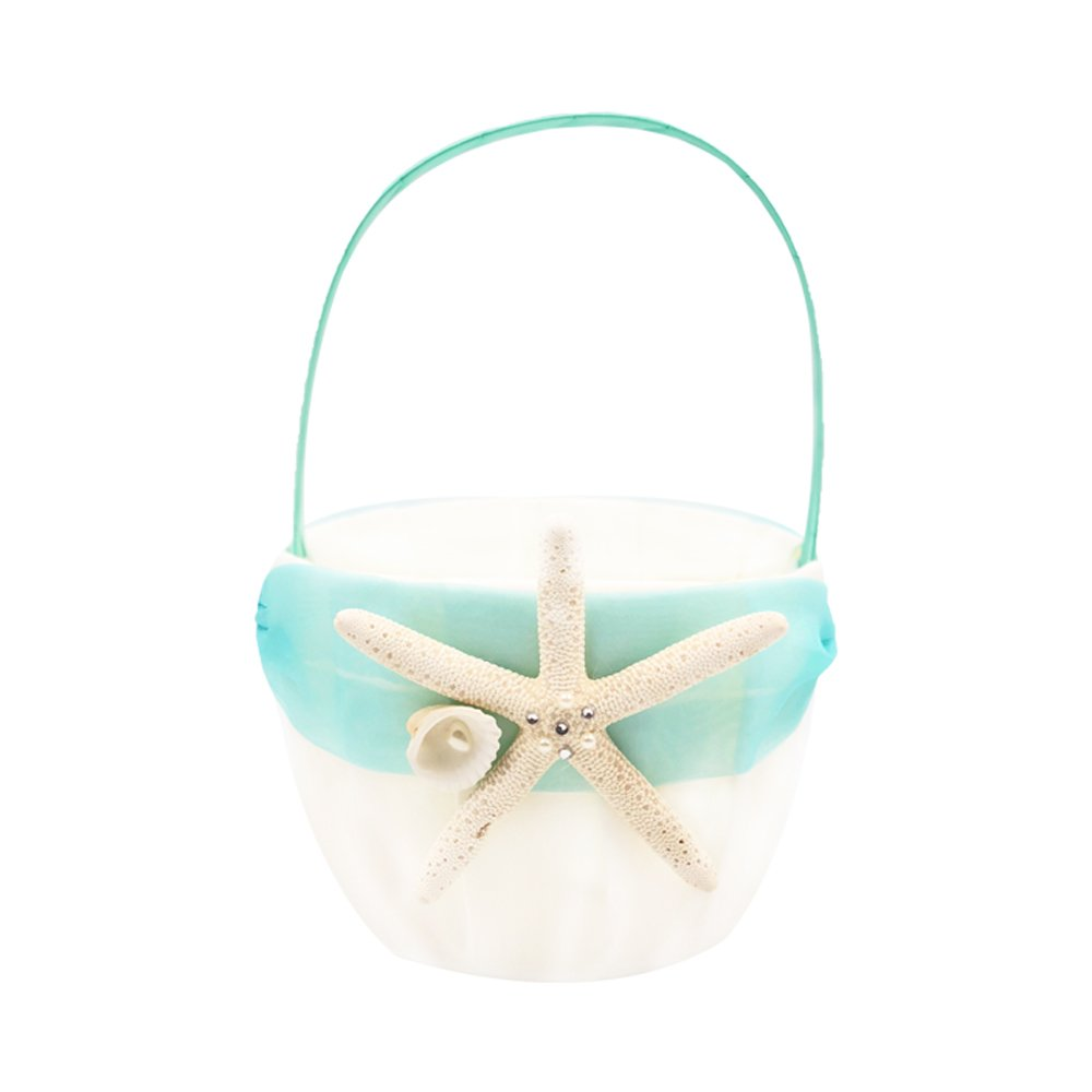 Abbie Home Organza Bow knot Wedding Flower Basket Romantic Beach Wedding Party Favor (Turquoise Basket) by Abbie Home